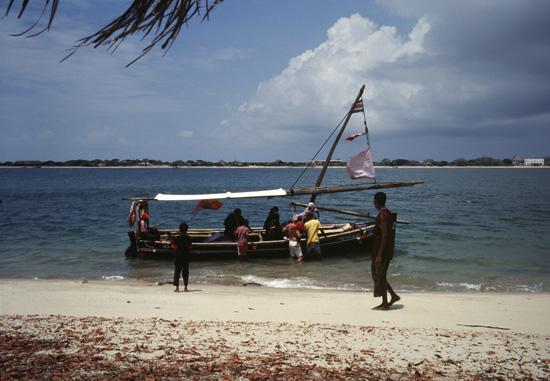 Boat with tourists Shela Beach in Lamu
