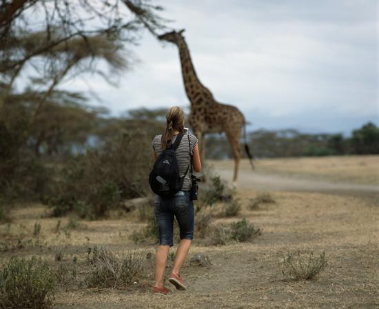 Woman on a walking safari in Africa