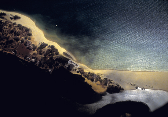 Aerial shot of a beach on Lamu