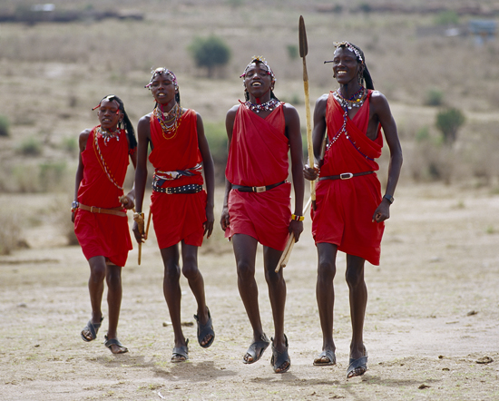 Masai warriors dancing outside the Manyatta