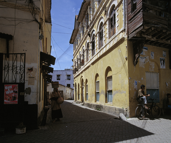 The architecture in Mombasas old town reflects the Swahili culture