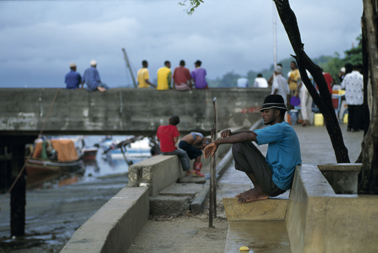 People at the harbour