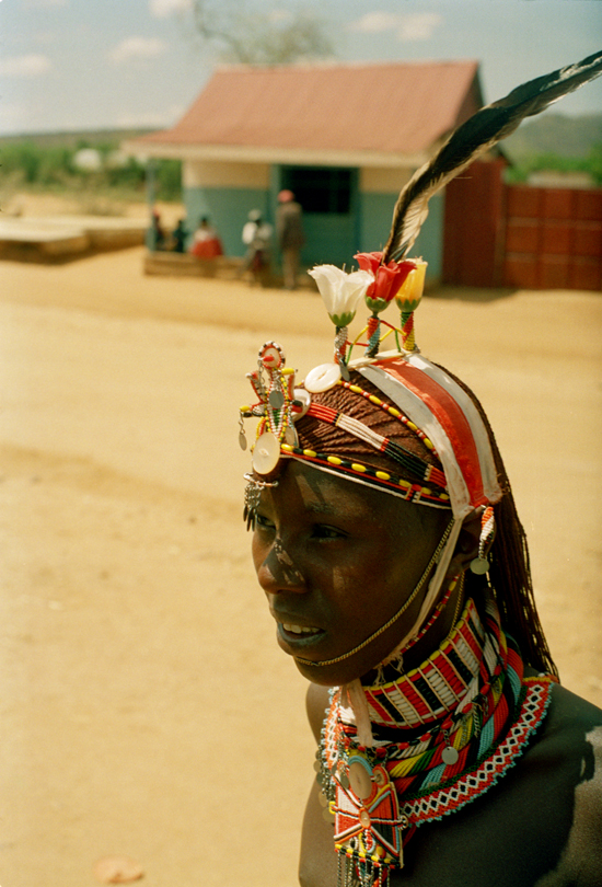 Samburu warrior with feather ornaments