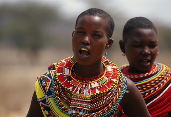 Samburu women performing a dance with singing