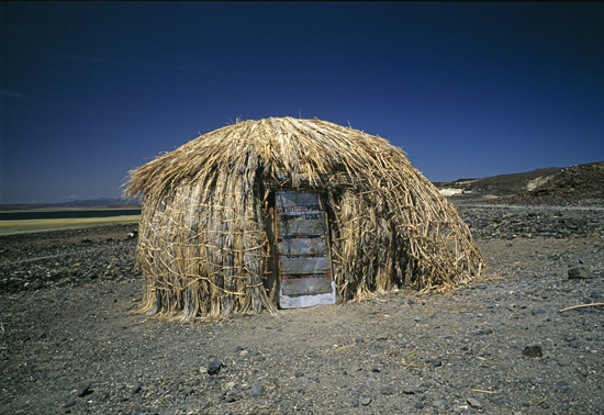 Traditional hut on the shore of Lake Turkana
