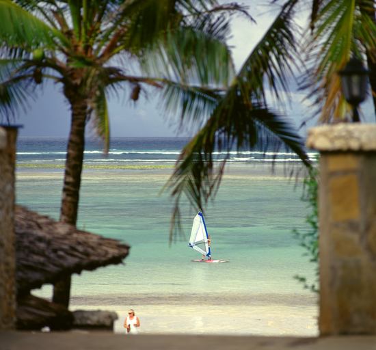 Windsurfer Diani Beach by the Indian Ocean
