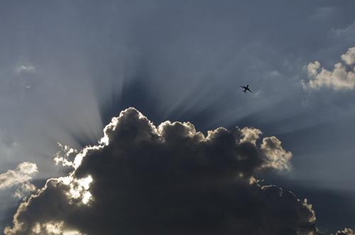 aeroplane on the sky