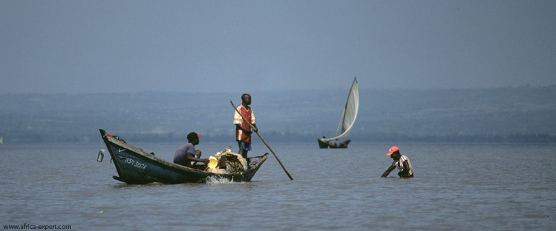 Fishermen in Lake Victoria in Kenya