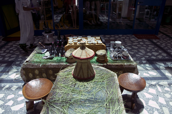 Traditional coffee ceremony in a modern shopping mall