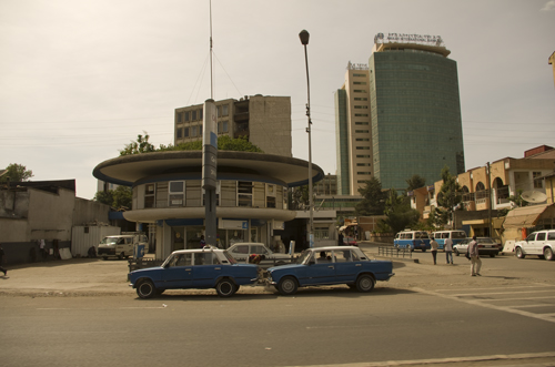Lada taxis in the street of Addis Ababa