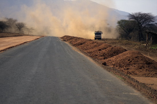 Transportation in Africa on dusty roads
