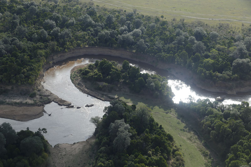 A bend of the Mara River in Kenya seen from above