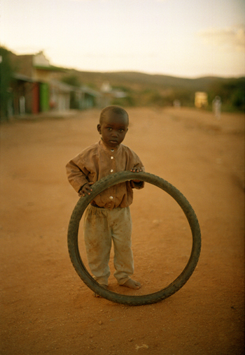 Boy and bicycle tire