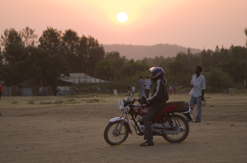 A man on a motorcycle in Jinka in Ethiopia