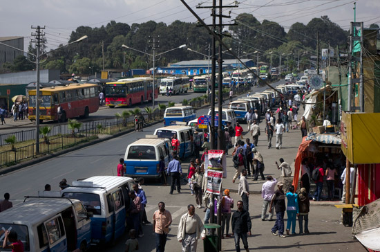 Bus station in Addis Ababa in Ethiopia