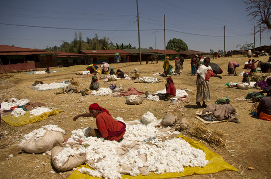 People selling cotton in Chencha