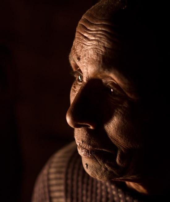 A woman inside her house in Dorze