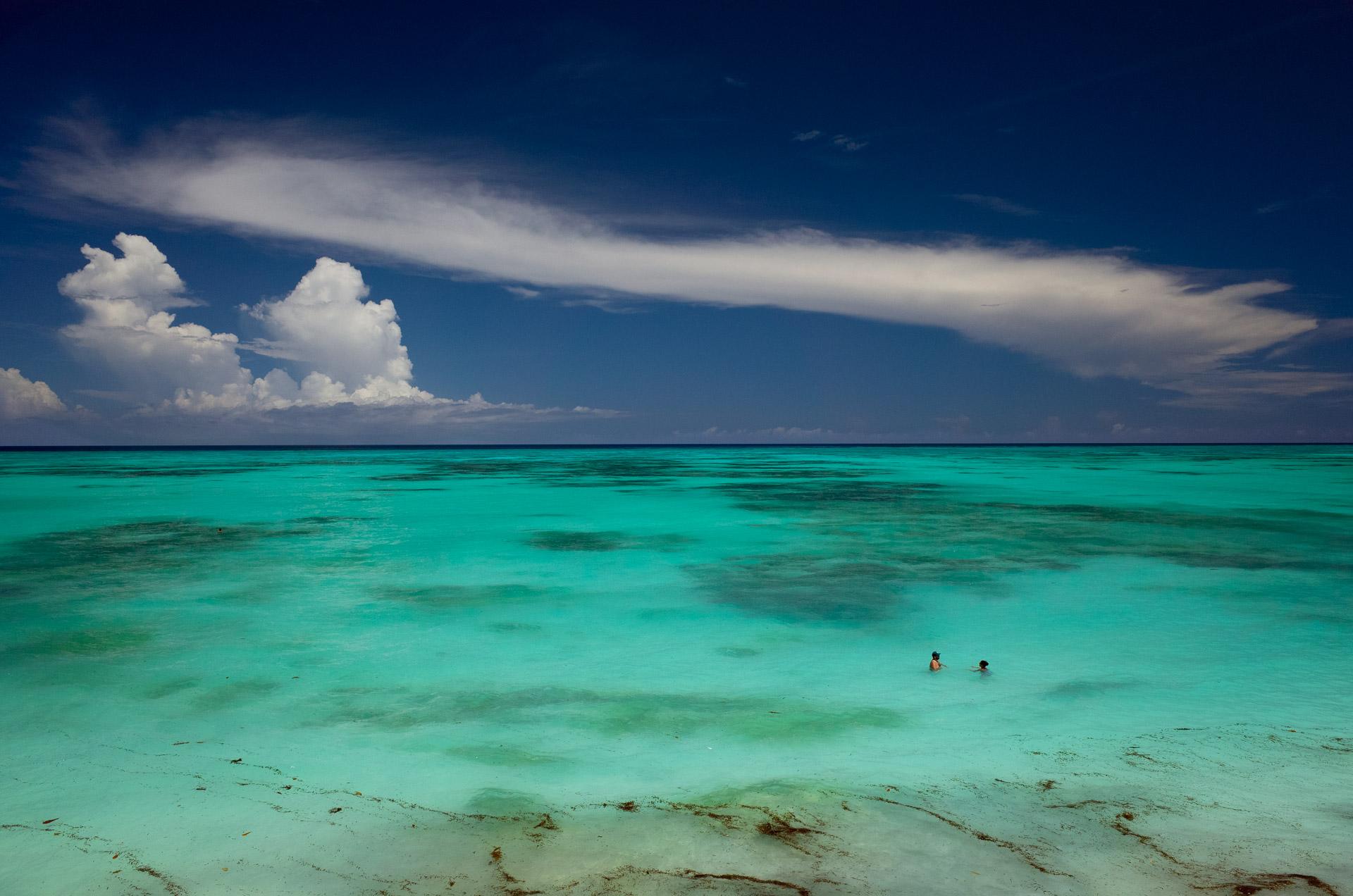zanzibar in the clear and turqouise sea Indian Ocean